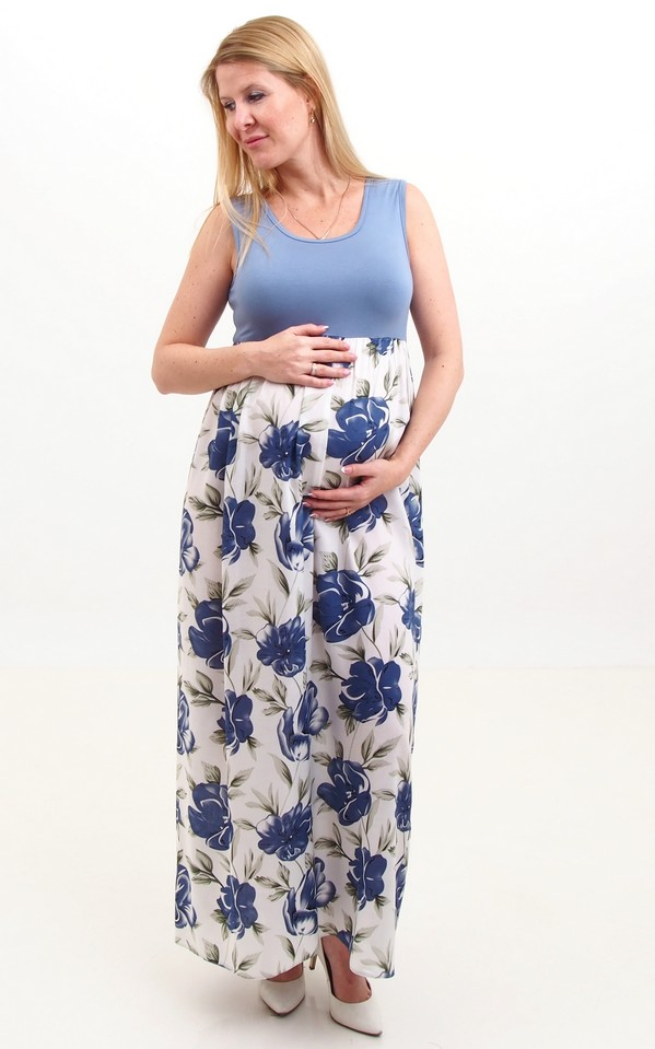 Maxi ruha kék virágos