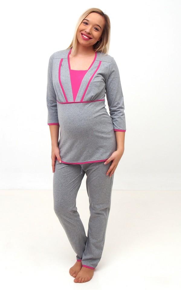 Pizsama szürke-rszín betét